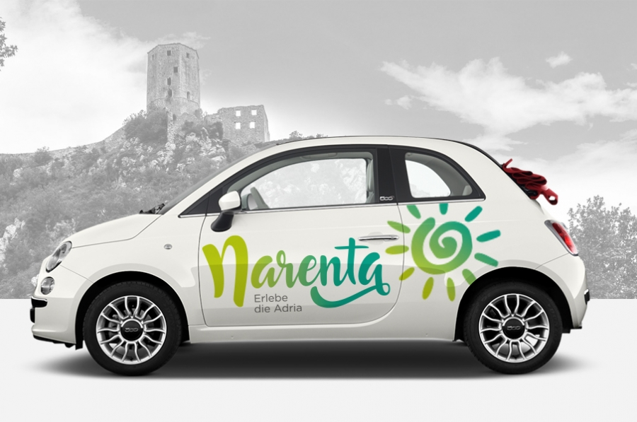 Visual identity of Narenta travel agency graphic design corporate vehicle