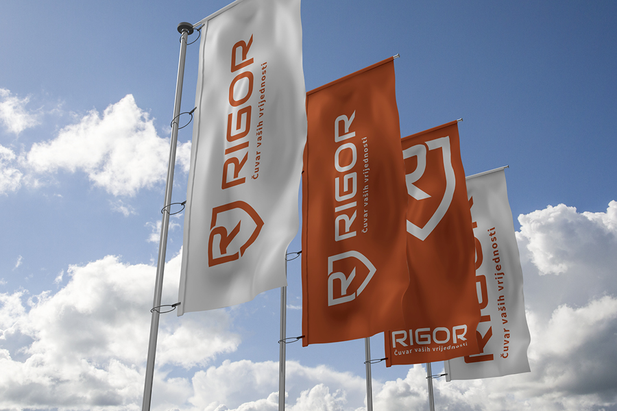 Vizualni identitet tvrtke Rigor dizajn zastave