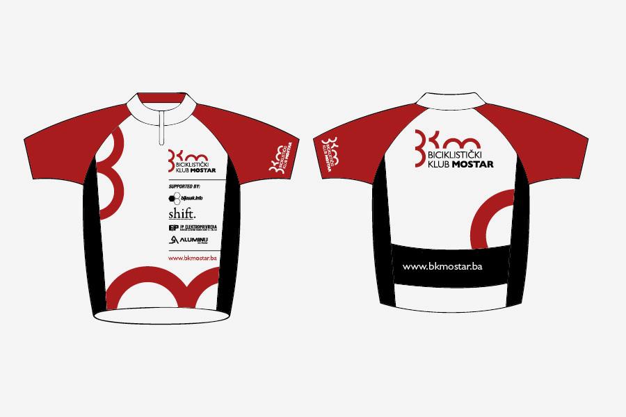 Dizajn logotipa Biciklistički klub Mostar, aplikacija logotipa