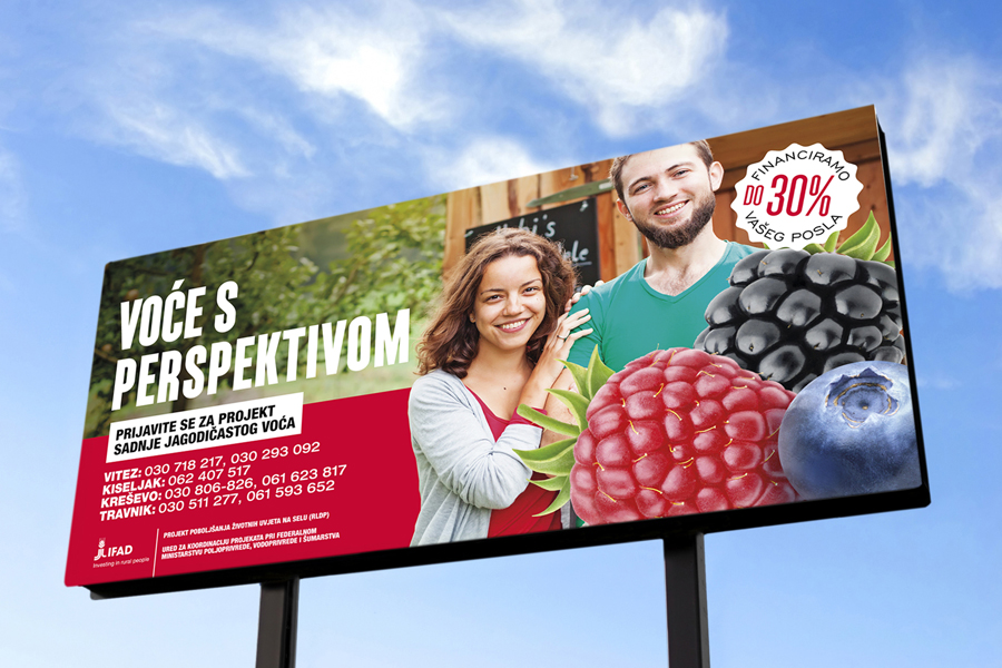 Medijska kampanja promocije jagodičastog voća, ifad, shift, dizajn billboarda