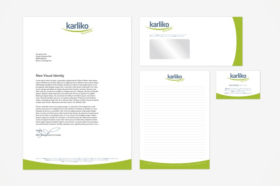 vizualni identitet karliko , dizajn logotipa, memorandum, vizitka, shift agencija mostar