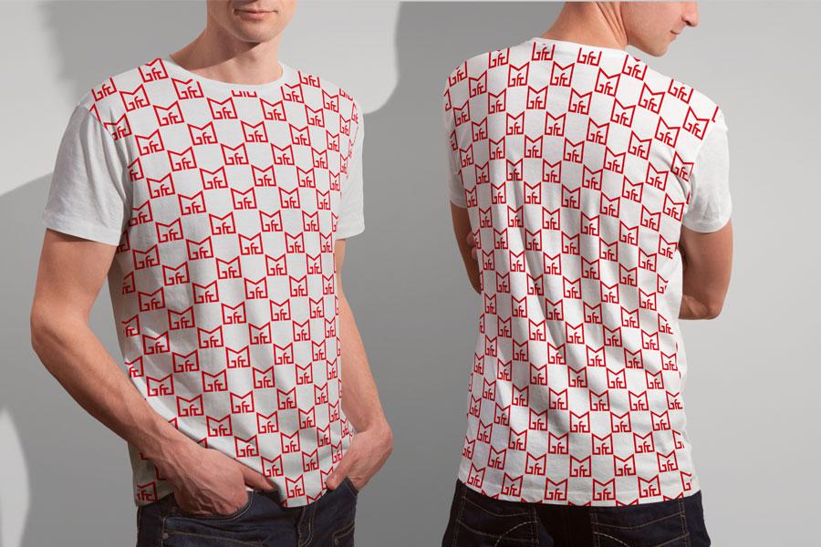 Vizualni identitet obrazovne institucije majica prilagodba logotipa na majicu