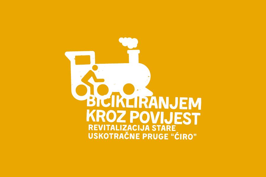 negativ logotipa, revitalizacija uskotračne pruge ćiro, bicikliranjem kroz povijest,