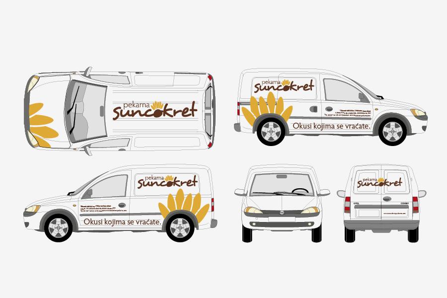 Vizualni identitet - Pekarna Suncokret, oslikavanje vozila, sbd