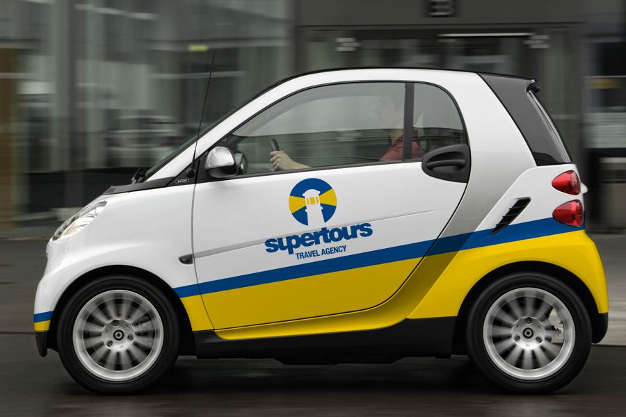 Vizualni identitet turističke agencije supertours, oslikavanje vozila