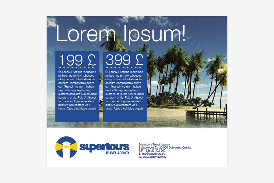 Vizualni identitet turističke agencije supertours, ponuda