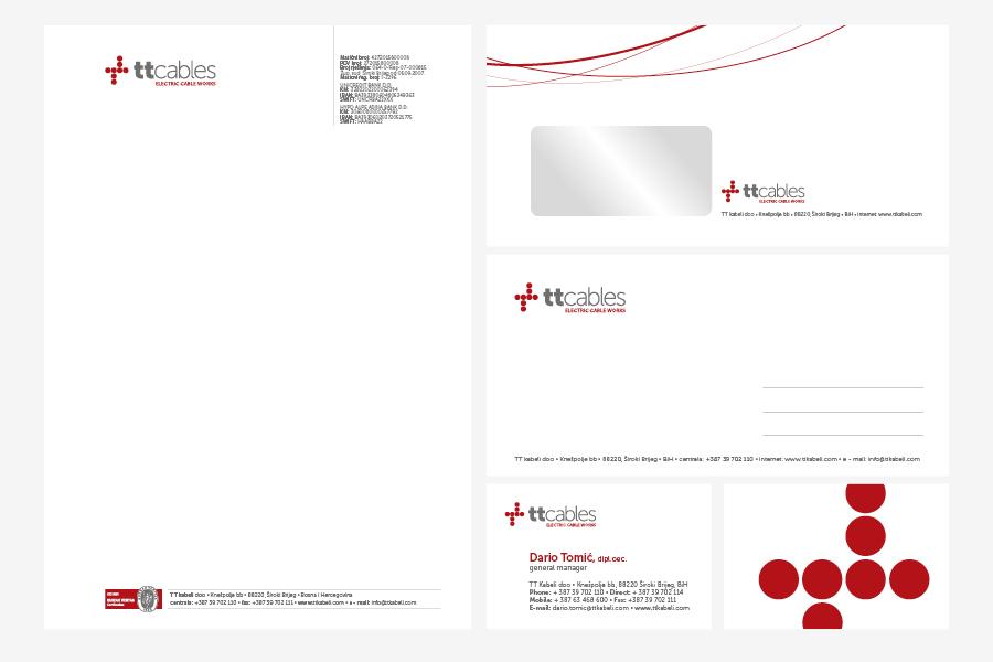 Vizualni identitet TT Kabeli, memorandum, vizitka, kuverta, dizajn logotipa shift agencija