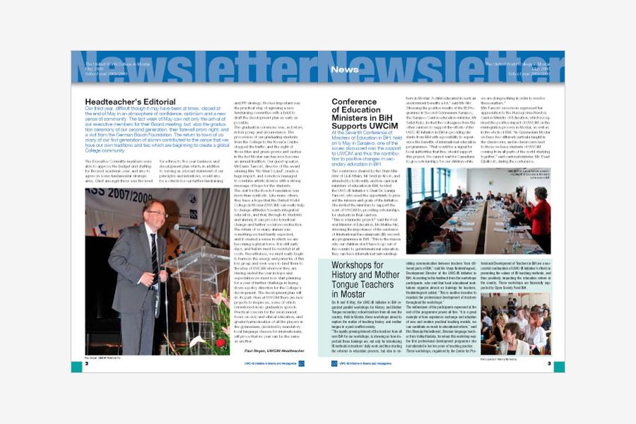 newsletter Koledž ujedinjenog svijeta, UWC, grafički dizajn