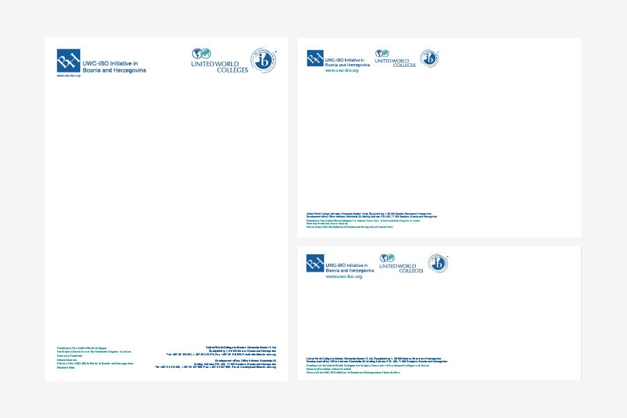 Vizualni identitet Koledža ujedinjenog svijeta, momorandum, vizitke