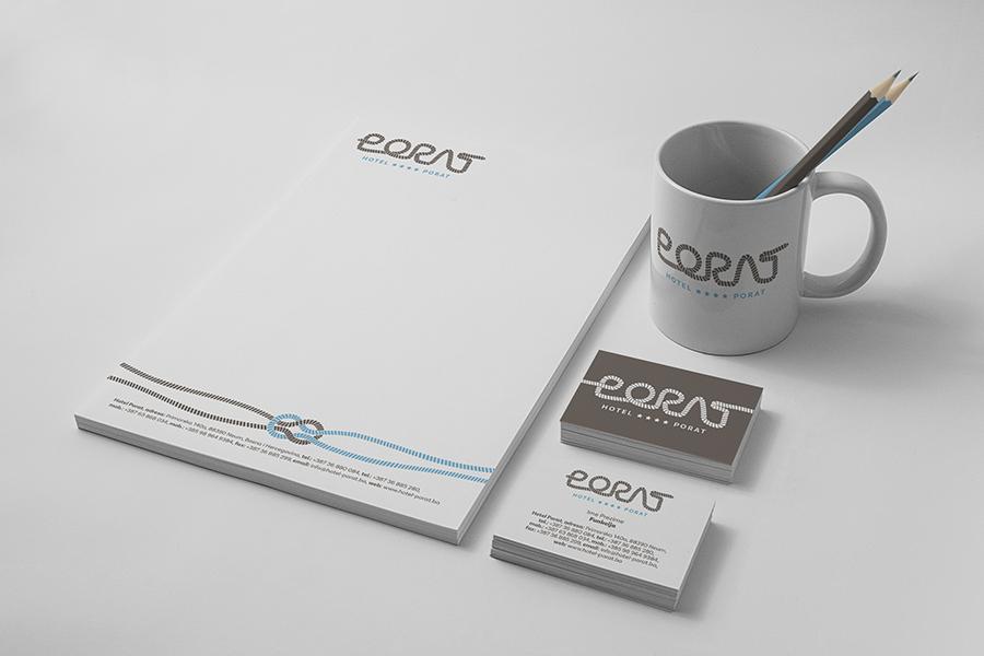 Vizualni identitet Hotela Porat memorandum vizitka dizajn logotipa šalica olovka