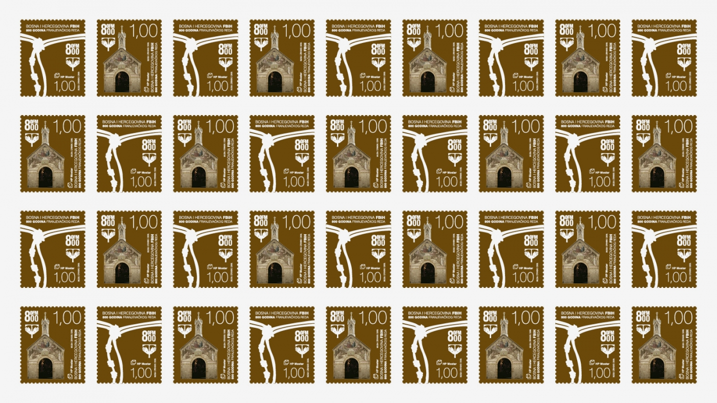 Poštanska marka 800 godina Franjevačkog reda