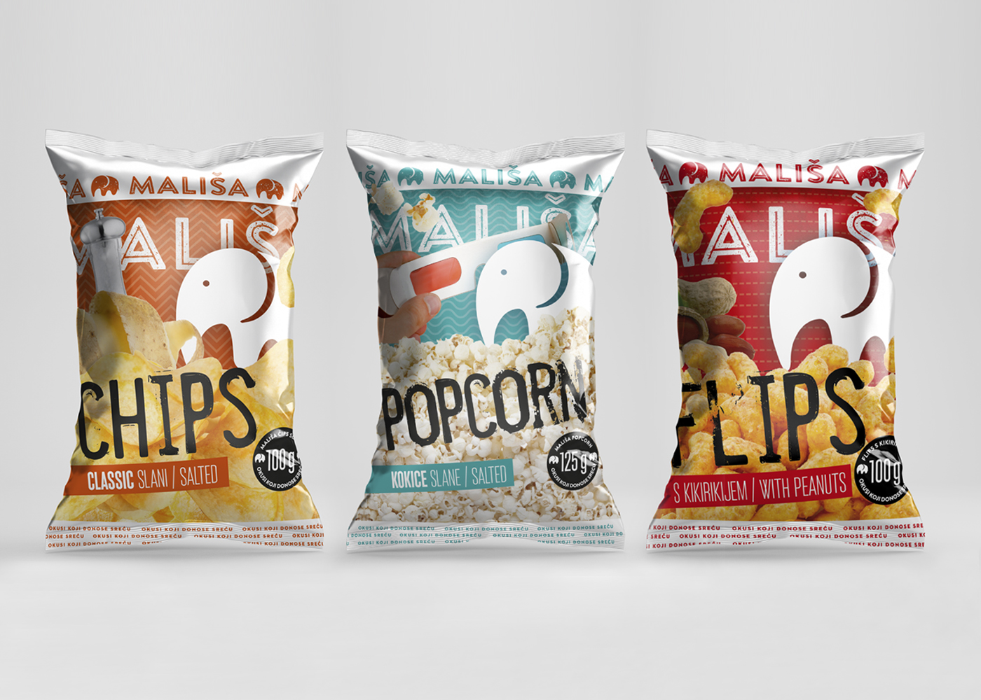 "Packaging design for ""Mališa"" line of products"
