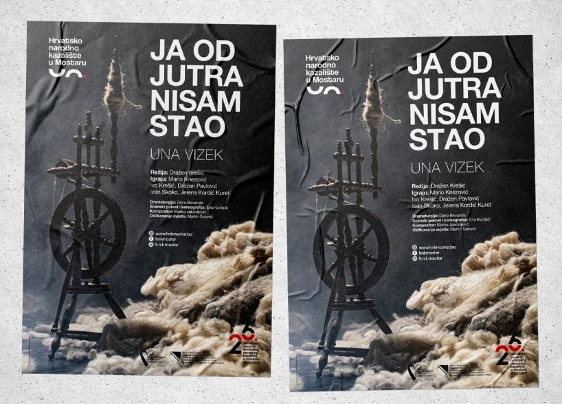 """Dizajn plakata za predstavu """"Ja od jutra nisam stao"""" Hrvatskog narodnog kazališta u Mostaru"""