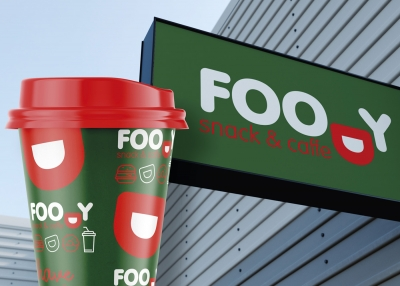 Identity and environmental graphics design for Foody Snack & Caffe