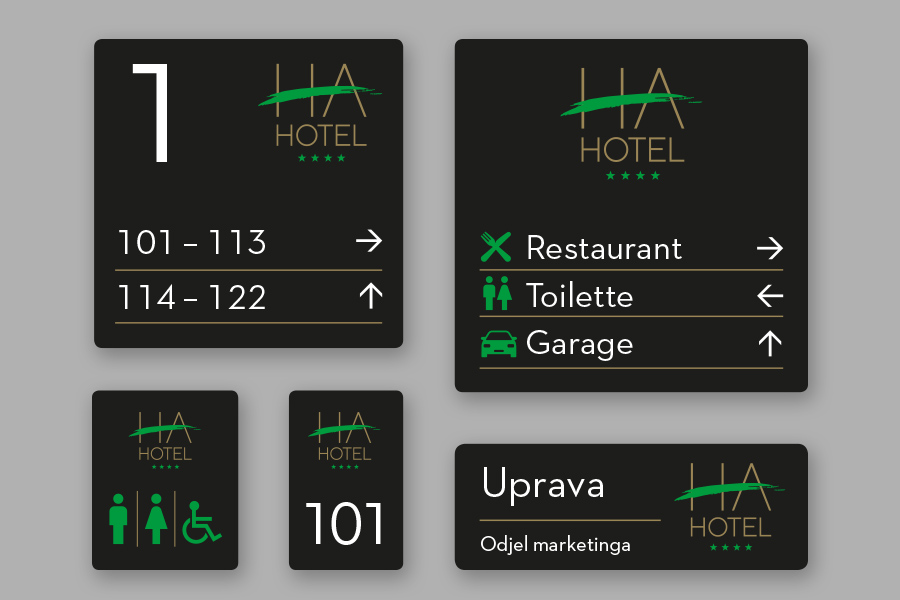 Vizualni identitet hotela HA u Mostaru signalizacija interijer