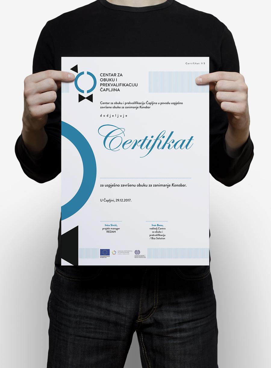 Vizualni identitet Centra za obuku i prekvalifikaciju Čapljina certifikat