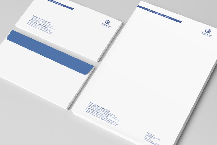 Dizajn logotipa Education in Action, memorandum, kuverte