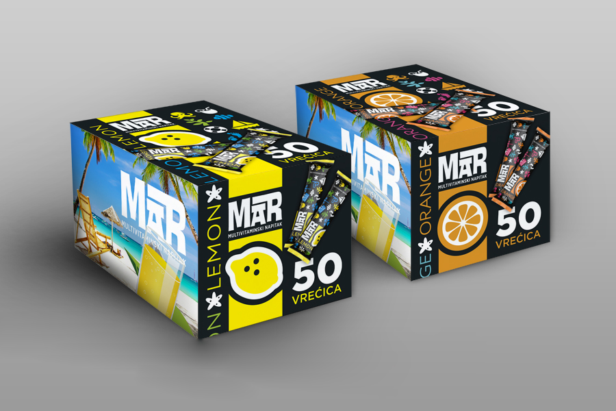 brend identitet za vitaminski napitak - dizajn kartonskih kutija