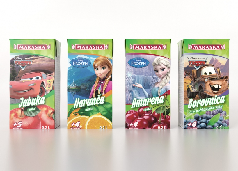 The packaging design of Disney franchise juices