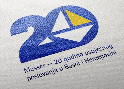 Logotip 20. obljetnice rada njemačke tvrtke Messer u Bosni i Hercegovini